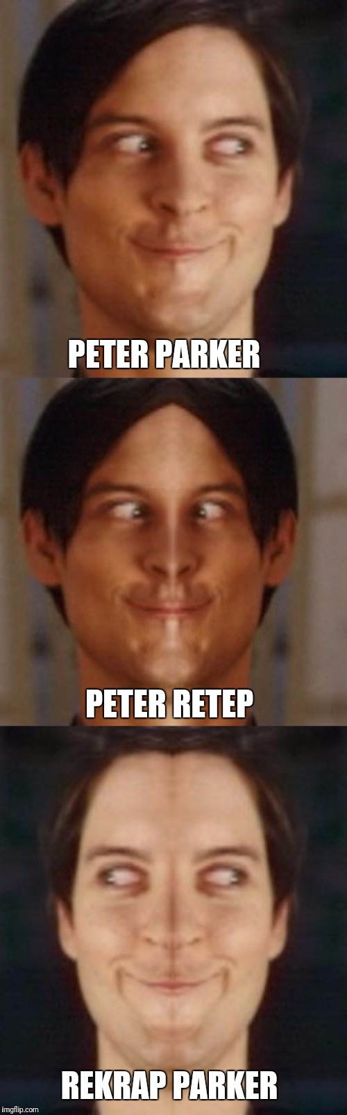 Secret identities | PETER PARKER PETER RETEP REKRAP PARKER | image tagged in spiderman peter parker,memes,mirrors,spiderman mirror | made w/ Imgflip meme maker