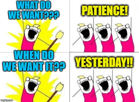 What Do We Want | WHAT DO WE WANT??? PATIENCE! WHEN DO WE WANT IT?? YESTERDAY!! | image tagged in memes,what do we want | made w/ Imgflip meme maker