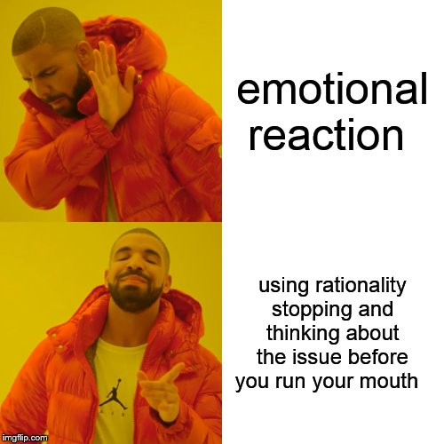Drake Hotline Bling Meme | emotional reaction using rationality stopping and thinking about the issue before you run your mouth | image tagged in memes,drake hotline bling | made w/ Imgflip meme maker