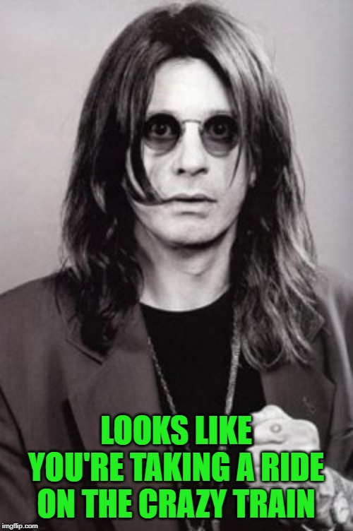 Ozzy | LOOKS LIKE YOU'RE TAKING A RIDE ON THE CRAZY TRAIN | image tagged in ozzy | made w/ Imgflip meme maker