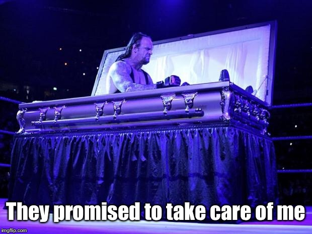 undertaker trolled | They promised to take care of me | image tagged in undertaker trolled | made w/ Imgflip meme maker