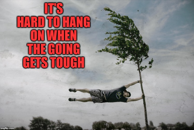 hanging on | IT'S HARD TO HANG ON WHEN THE GOING GETS TOUGH | image tagged in hanging on | made w/ Imgflip meme maker