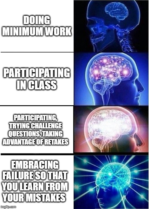 Expanding Brain Meme | DOING MINIMUM WORK PARTICIPATING IN CLASS PARTICIPATING, TRYING CHALLENGE QUESTIONS, TAKING ADVANTAGE OF RETAKES EMBRACING FAILURE SO THAT Y | image tagged in memes,expanding brain | made w/ Imgflip meme maker