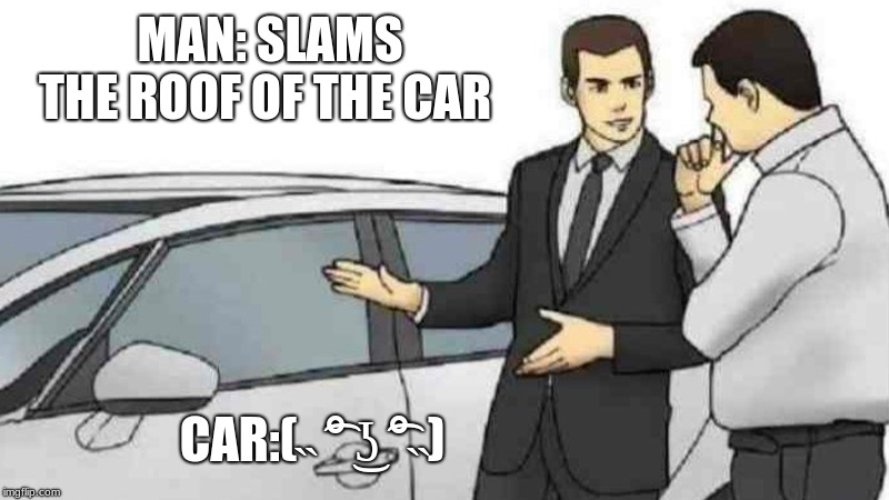 Car Salesman Slaps Roof Of Car Meme | MAN: SLAMS THE ROOF OF THE CAR CAR:(˵ ͡° ͜ʖ ͡°˵) | image tagged in memes,car salesman slaps roof of car | made w/ Imgflip meme maker