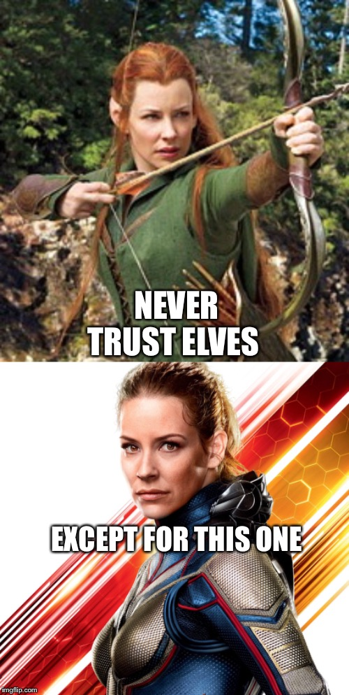 Evangeline Lily's move from Tauriel to Hope Van Dye/The Wasp | NEVER TRUST ELVES EXCEPT FOR THIS ONE | image tagged in elves,superheroes,the hobbit,marvel cinematic universe,ant man | made w/ Imgflip meme maker