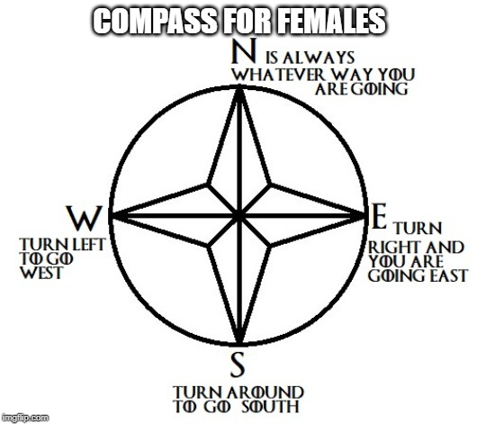I have never met a female that could determine direction. | COMPASS FOR FEMALES | image tagged in female logic,directions,driving,hiking,female | made w/ Imgflip meme maker