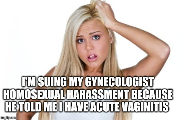 Dumb Blonde | I'M SUING MY GYNECOLOGIST HOMOSEXUAL HARASSMENT BECAUSE HE TOLD ME I HAVE ACUTE VAGINITIS | image tagged in dumb blonde | made w/ Imgflip meme maker