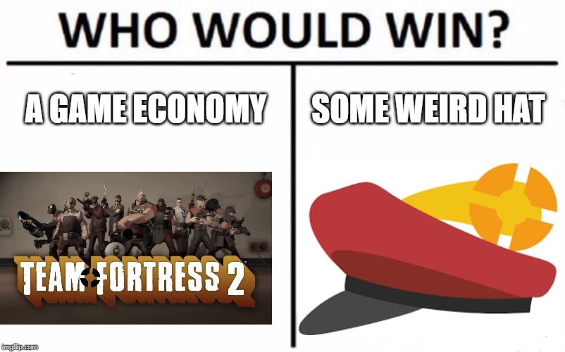 Who Would Win? Meme | A GAME ECONOMY SOME WEIRD HAT | image tagged in memes,who would win | made w/ Imgflip meme maker