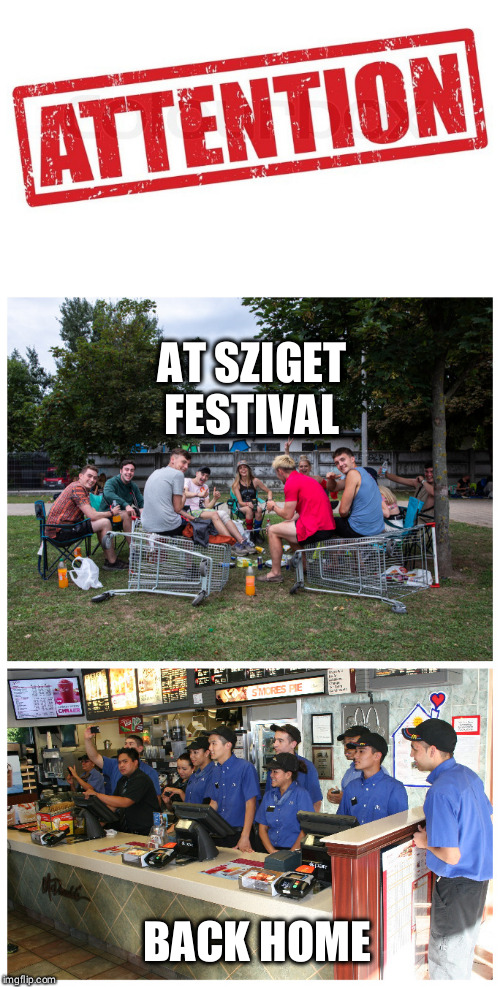 Back home vs at the festival | AT SZIGET FESTIVAL BACK HOME | image tagged in festival,mcdonald's sign | made w/ Imgflip meme maker