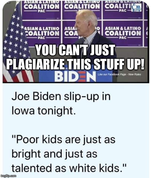 Too Bad To Be Plagiarism | YOU CAN'T JUST PLAGIARIZE THIS STUFF UP! | image tagged in joe biden,biden,plagiarism,racism,black,white people | made w/ Imgflip meme maker