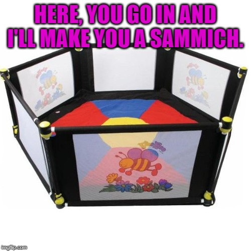 Safe Space | HERE, YOU GO IN AND I'LL MAKE YOU A SAMMICH. | image tagged in safe space | made w/ Imgflip meme maker