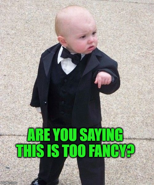 Baby Godfather Meme | ARE YOU SAYING THIS IS TOO FANCY? | image tagged in memes,baby godfather | made w/ Imgflip meme maker