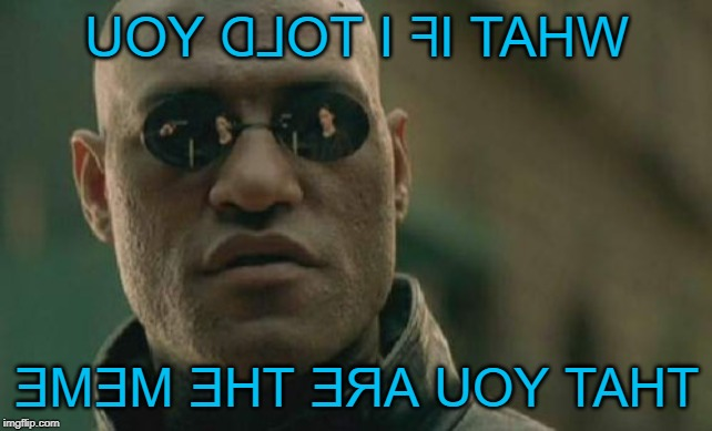 This meme might be about YOU! |  UOY ᗡ⅃OT I ᖷI TAHW; ƎMƎM ƎHT ƎЯA UOY TAHT | image tagged in memes,matrix morpheus,you are the meme,whaaaaat,the matrix,all about you | made w/ Imgflip meme maker