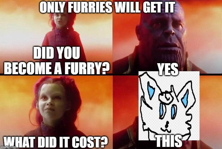 thanos what did it cost |  ONLY FURRIES WILL GET IT; DID YOU BECOME A FURRY? YES; WHAT DID IT COST? THIS | image tagged in thanos what did it cost | made w/ Imgflip meme maker