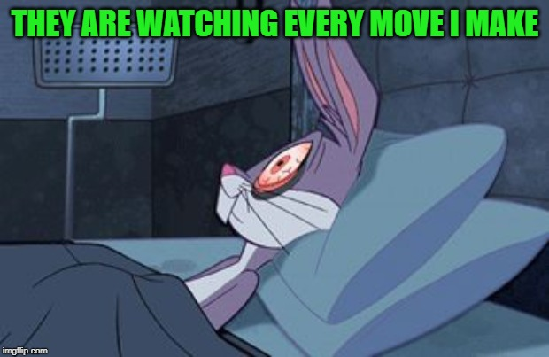 bugs bunny can't sleep | THEY ARE WATCHING EVERY MOVE I MAKE | image tagged in bugs bunny can't sleep | made w/ Imgflip meme maker