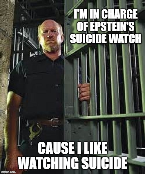 I'M IN CHARGE OF EPSTEIN'S SUICIDE WATCH CAUSE I LIKE WATCHING SUICIDE | made w/ Imgflip meme maker
