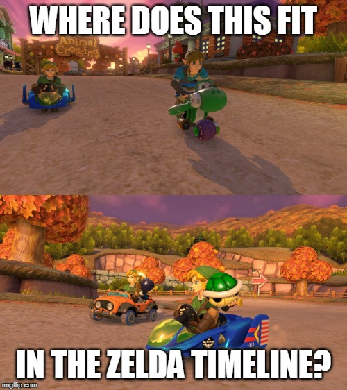 LINK KART | WHERE DOES THIS FIT IN THE ZELDA TIMELINE? | image tagged in legend of zelda,mario kart,the legend of zelda,mario kart 8,memes | made w/ Imgflip meme maker