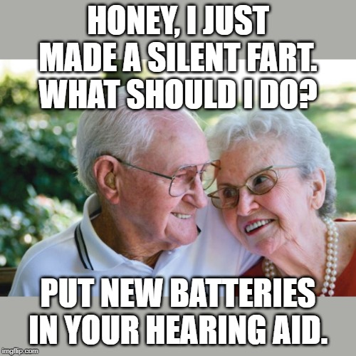 HONEY, I JUST MADE A SILENT FART. WHAT SHOULD I DO? PUT NEW BATTERIES IN YOUR HEARING AID. | image tagged in old couple | made w/ Imgflip meme maker