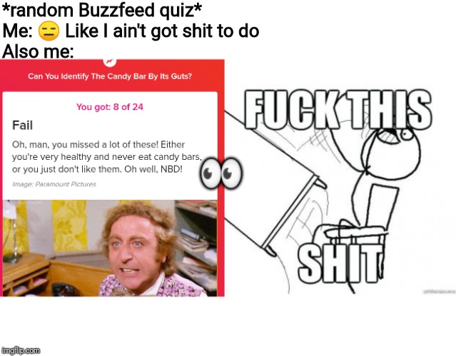 *random Buzzfeed quiz*Me: ? Like I ain't got shit to doAlso me: ? | image tagged in damn buzzfeed | made w/ Imgflip meme maker