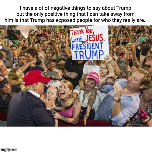 Trump Exposure | I have alot of negative things to say about Trump but the only positive thing that I can take away from him is that Trump has exposed people | image tagged in trump exposure | made w/ Imgflip meme maker