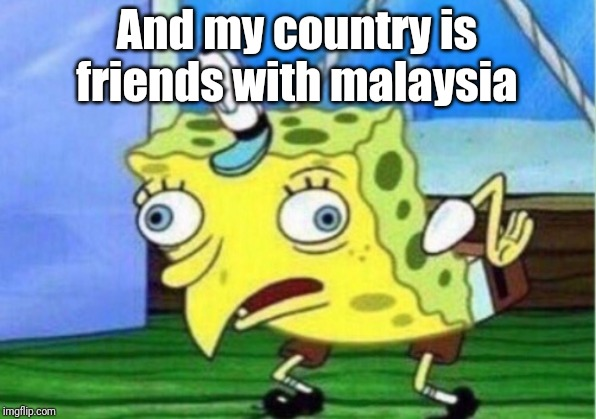 Mocking Spongebob Meme | And my country is friends with malaysia | image tagged in memes,mocking spongebob | made w/ Imgflip meme maker