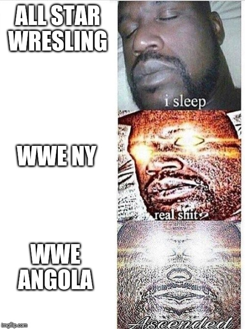 I sleep meme with ascended template | ALL STAR WRESLING WWE NY WWE ANGOLA | image tagged in i sleep meme with ascended template | made w/ Imgflip meme maker
