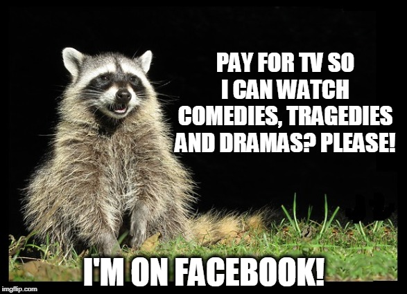 Talk about reality TV! |  PAY FOR TV SO I CAN WATCH COMEDIES, TRAGEDIES AND DRAMAS? PLEASE! I'M ON FACEBOOK! | image tagged in facebook,life,tv,tv shows,tv dramas | made w/ Imgflip meme maker