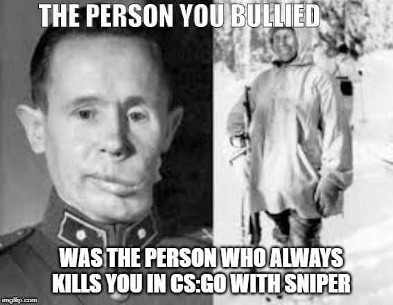 Simo Hayha |  THE PERSON YOU BULLIED; WAS THE PERSON WHO ALWAYS KILLS YOU IN CS:GO WITH SNIPER | image tagged in sniper | made w/ Imgflip meme maker