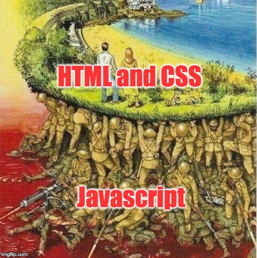 HTML and CSS Javascript | image tagged in soldiers hold up society | made w/ Imgflip meme maker