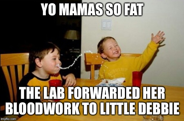 Yo Mamas So Fat |  YO MAMAS SO FAT; THE LAB FORWARDED HER BLOODWORK TO LITTLE DEBBIE | image tagged in memes,yo mamas so fat | made w/ Imgflip meme maker