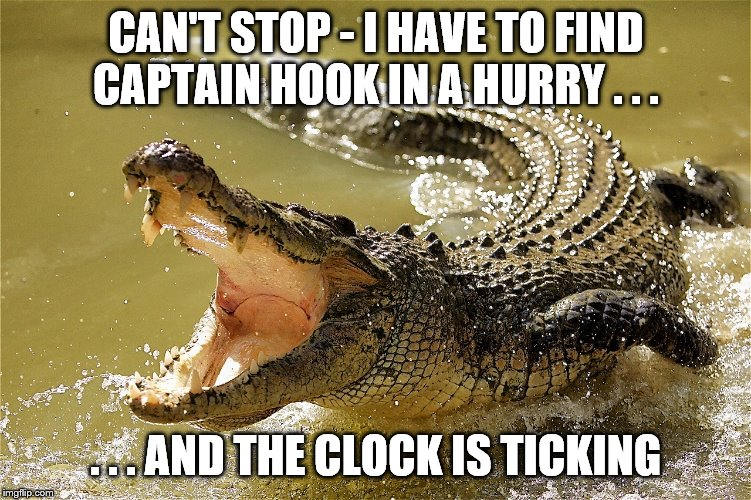 CAN'T STOP - I HAVE TO FIND CAPTAIN HOOK IN A HURRY . . . . . . AND THE CLOCK IS TICKING | image tagged in crocodile singing | made w/ Imgflip meme maker
