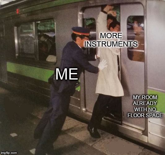 Never tried to squeeze those instruments into a subway though. | MORE INSTRUMENTS MY ROOM ALREADY WITH NO FLOOR SPACE ME | image tagged in subway pusher,music,guitar,piano,instruments | made w/ Imgflip meme maker