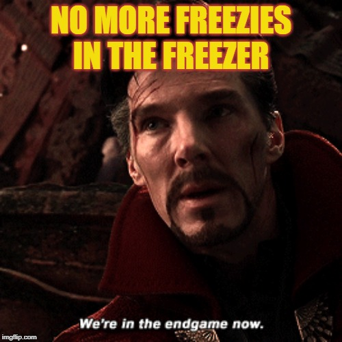 the importance of freezies | NO MORE FREEZIES IN THE FREEZER | image tagged in doctor strange infinity war | made w/ Imgflip meme maker