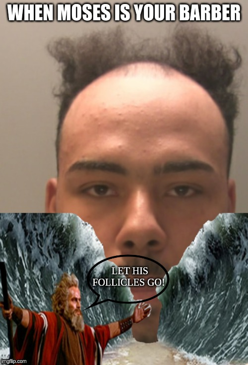 Moses Parts the Receding Sea on Jermaine Taylor' Noggin. | WHEN MOSES IS YOUR BARBER LET HIS FOLLICLES GO! | image tagged in jermaine taylor,british news,hilarious memes,receding hairlines,receding hairline prisoner | made w/ Imgflip meme maker
