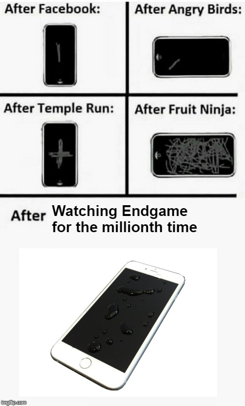 After Watching Endgame for the millionth time |  Watching Endgame for the millionth time | image tagged in after facebook after angry birds after temple run after fruit ni,endgame | made w/ Imgflip meme maker