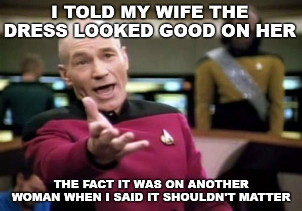 Picard Wtf | I TOLD MY WIFE THE DRESS LOOKED GOOD ON HER THE FACT IT WAS ON ANOTHER WOMAN WHEN I SAID IT SHOULDN'T MATTER | image tagged in memes,picard wtf | made w/ Imgflip meme maker