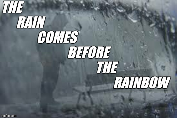 Just a few words of advice for those who are going through tough times | THE       RAIN               COMES                           BEFORE                                      THE                                 | image tagged in enlightenment | made w/ Imgflip meme maker