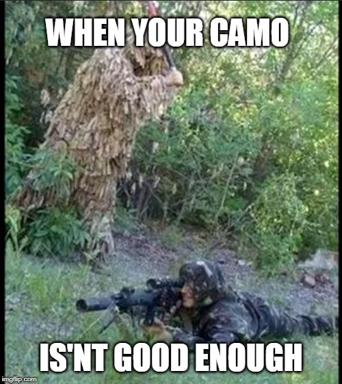 WHEN YOUR CAMO IS'NT GOOD ENOUGH | image tagged in camouflage,camo,funny,memes | made w/ Imgflip meme maker