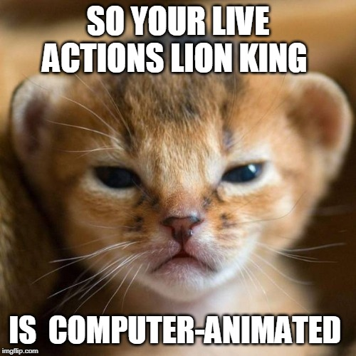 salty baby lion |  SO YOUR LIVE ACTIONS LION KING; IS  COMPUTER-ANIMATED | image tagged in salty baby lion | made w/ Imgflip meme maker