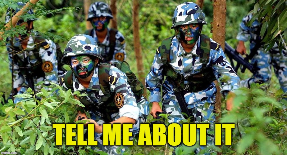 Wrong camo | TELL ME ABOUT IT | image tagged in wrong camo | made w/ Imgflip meme maker