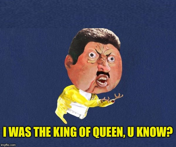 I WAS THE KING OF QUEEN, U KNOW? | image tagged in y u no freddy mercury | made w/ Imgflip meme maker