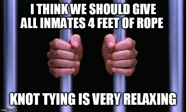 Prison Bars | I THINK WE SHOULD GIVE ALL INMATES 4 FEET OF ROPE KNOT TYING IS VERY RELAXING | image tagged in prison bars | made w/ Imgflip meme maker