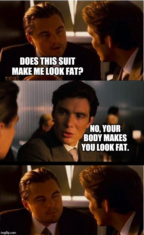 Burn! | DOES THIS SUIT MAKE ME LOOK FAT? NO, YOUR BODY MAKES YOU LOOK FAT. | image tagged in memes,inception,fat,weight loss,exercise,leonardo dicaprio | made w/ Imgflip meme maker