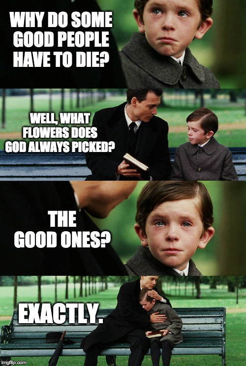 Lik dis if u cri evrtim | WHY DO SOME GOOD PEOPLE HAVE TO DIE? WELL, WHAT FLOWERS DOES GOD ALWAYS PICKED? THE GOOD ONES? EXACTLY. | image tagged in finding neverland,sad but true,memes,so sad,flowers | made w/ Imgflip meme maker