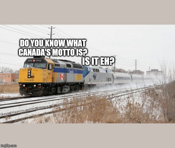DO YOU KNOW WHAT CANADA'S MOTTO IS? IS IT EH? | image tagged in via rail leading amtrak | made w/ Imgflip meme maker