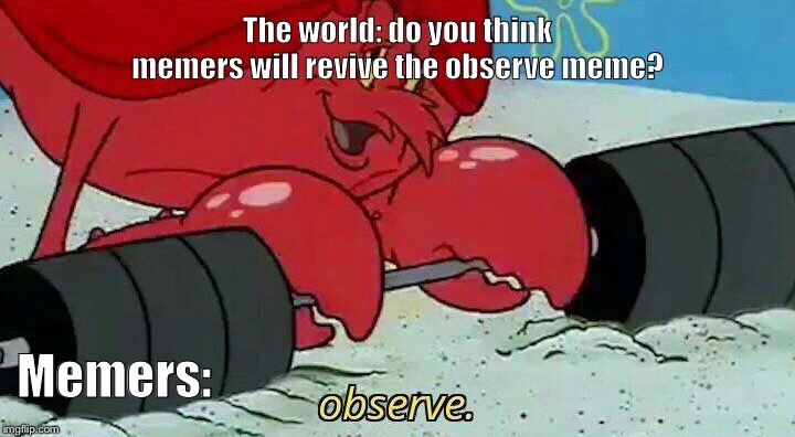 Observe | The world: do you think memers will revive the observe meme? Memers: | image tagged in observe | made w/ Imgflip meme maker