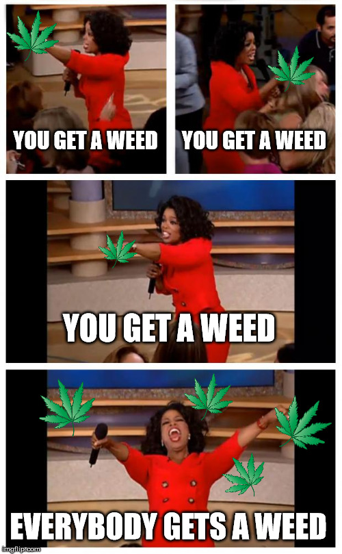 Oprah You Get A Car Everybody Gets A Car Meme |  YOU GET A WEED; YOU GET A WEED; YOU GET A WEED; EVERYBODY GETS A WEED | image tagged in memes,oprah you get a car everybody gets a car | made w/ Imgflip meme maker