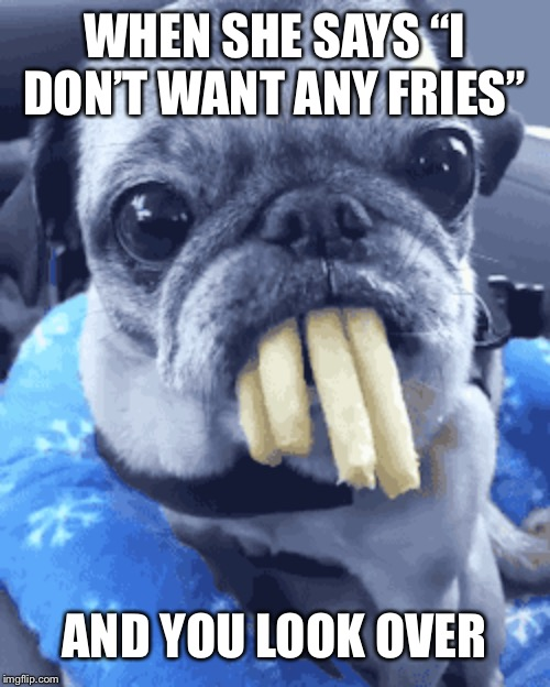 "Every time | WHEN SHE SAYS ""I DON'T WANT ANY FRIES"" AND YOU LOOK OVER 