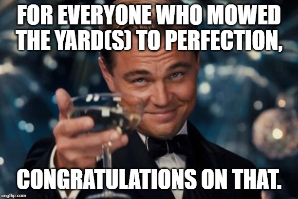 I was one of the people who mow yards weekly. | FOR EVERYONE WHO MOWED THE YARD(S) TO PERFECTION, CONGRATULATIONS ON THAT. | image tagged in memes,leonardo dicaprio cheers | made w/ Imgflip meme maker