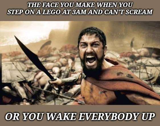 Sparta Leonidas Meme | THE FACE YOU MAKE WHEN YOU STEP ON A LEGO AT 3AM AND CAN'T SCREAM OR YOU WAKE EVERYBODY UP | image tagged in memes,sparta leonidas | made w/ Imgflip meme maker